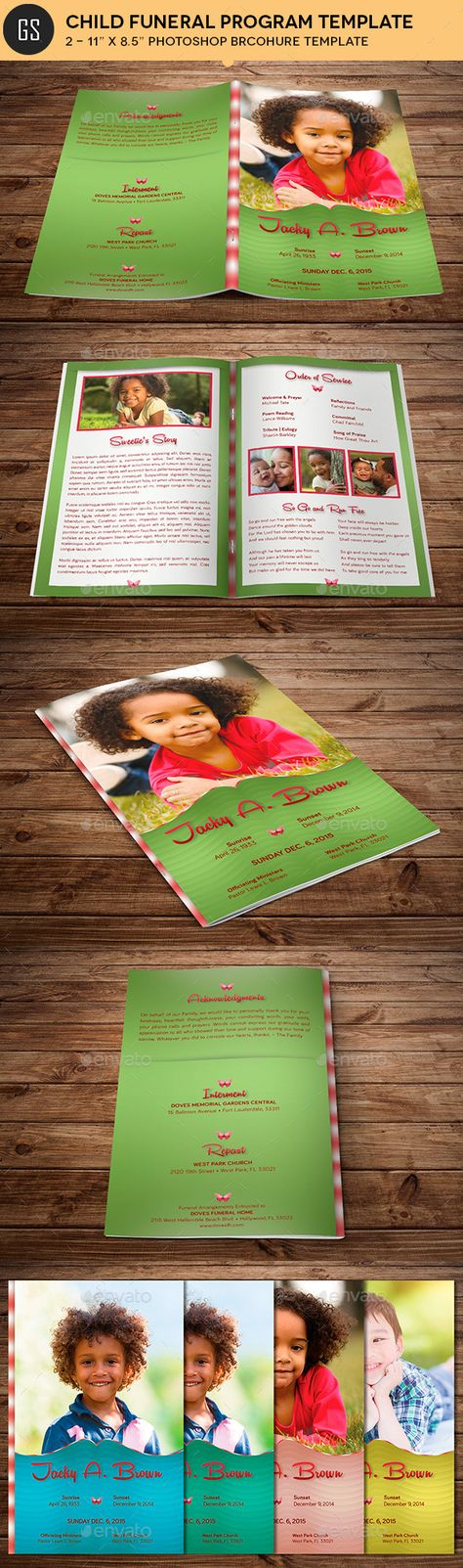 Child funeral program template Funeral Memorial Order of Service - child funeral program template