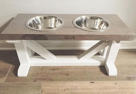 Dog Bowl Feeder Stand Elevated Raised Stand Farmhouse Rustic