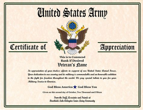 Military Certificate Of Appreciation Template mwbonlineco