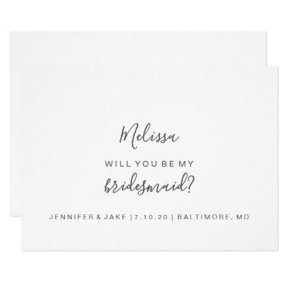 Will You Be My Bridesmaid Card Simple Script Zazzle Com