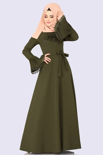 Modaselvim Elbise Gupur Detay Piliseli Elbise 2152ms212 Haki Muslim Fashion Outfits Muslim Fashion Dress Muslim Fashion