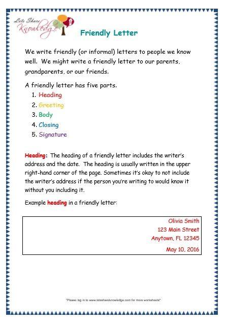 Letters Worksheet Friendly Letter Writing Writing Worksheets Letter Writing Worksheets