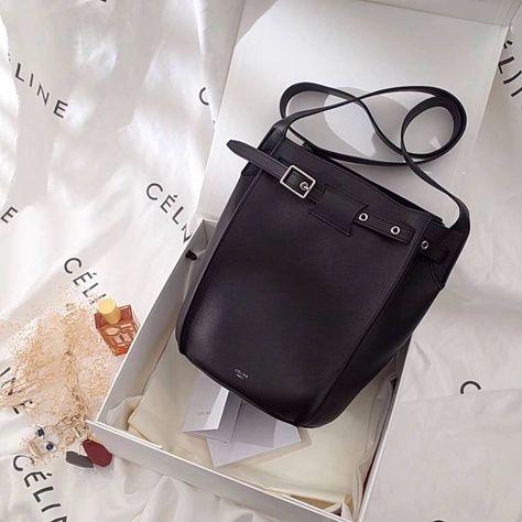 Celine BIG BAG BUCKET WITH LONG STRAP IN SMOOTH CALFSKIN BLACK - Bella Vita Moda #celine #celinebag #celinelover #celineaddict #baglover #bagaddict #fashionista #celine2018