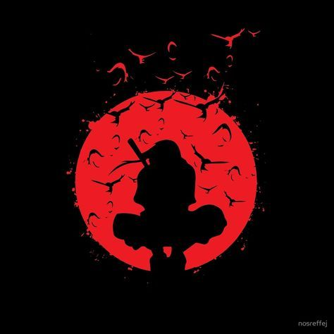 Itachi Silhouette In The Red Moon With Grunge Effect Is Available As T Shirts Naruto Sharingan Itachi Uchiha Wallpaper Naruto Shippuden