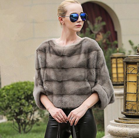 Women's 100% Real Full Pelt Mink Fur Capelet Cape Poncho Short Crop Coat Jacket #fashion #clothing #shoes #accessories #womensclothing #coatsjacketsvests #ad (ebay link)