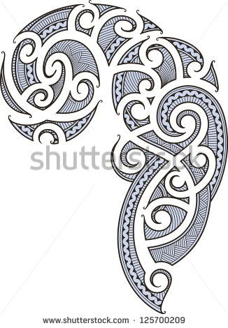 Maori style tattoo designed for a man's body (shoulder and chest). Raster image. - stock photo