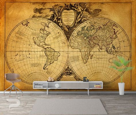 World Map Wall Mural Old Map Wallpaper Vintage Marine Map Of The World Wall Art Print Poster Wall Decor Removable Peel Stick Mural Map Wallpaper World Map Wall Wall Murals