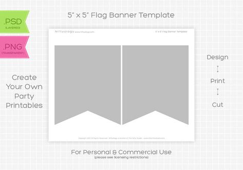 6 inch Triangle Bunting Flag Banner Template - INSTANT DOWNLOAD