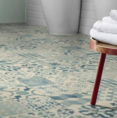 Shabby Chic Cushion Vinyl Flooring Sheet Kitchen Bathroom Tile Effect Lino Ebay Vinyl Flooring Rolls Cushioned Vinyl Flooring Vinyl Flooring