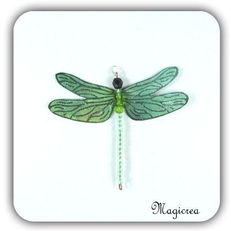 pendentif libellule soie 7.5 cm - verte - Boutique www.magicreation.fr