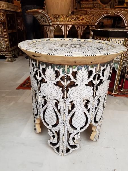 Mother Of Pearl Table Octagonal Side Table Walnut Table Table