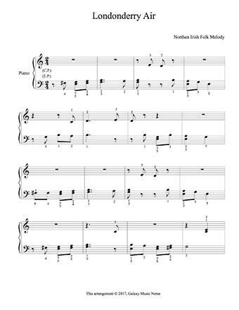Londonderry Air Level 2 Piano Sheet Music Sheet Music Piano