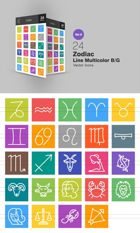 24 Zodiac Line Multicolor B/G Icons AI, EPS