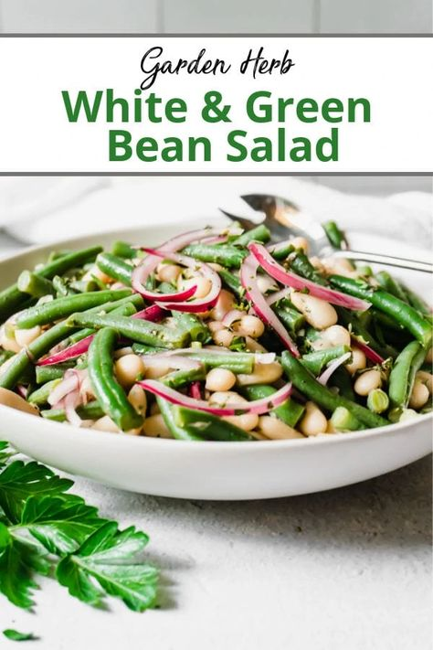 A cold green bean salad recipe made with white cannellini beans tossed in a light dressing vinaigrette made with fresh garden herbs. #greenbeansalad #beansaladrecipe #whitebeansalad #cannellinibeans #greenbeanrecipes #healthysidedishrecipe #healthysaladrecipes