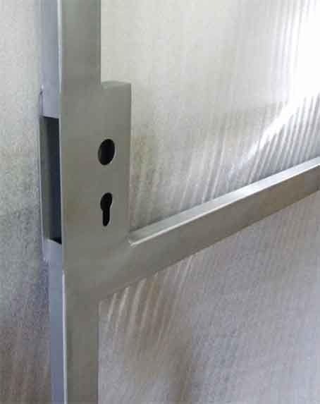 Lock Welded Into A Gate Metal Gates Lockbox Metal Door