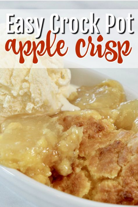 This apple crisp easy recipe is one of my absolute favorites. You use the Crock Pot to make this dessert and only four ingredients. Crock pot dessert recipes, apple especially are absolutely delicious! #apple #crisp #dessert #slowcooker #crockpot via @MomsCravings