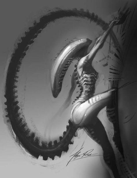Giger the alien the bitch. Alien Vs Predator, Hr Giger Art, Giger Alien, Alien Covenant, Alien Concept Art, Aliens Movie, Alien Creatures, Alien Art, Sci Fi Art