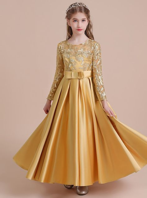 cec6fd12cc1c A-Line Long Length Flower Girl Dress - Lace / Satin Long Sleeve Jewel Neck  with Lace by LAN TING Express 2019 - US $64.99