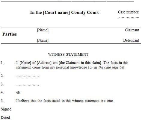 Sample defendant witness statement Good ideas Pinterest - sample witness statement