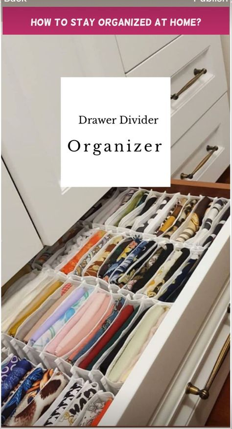Set of Dresser Drawer Divider Organizer can meet your storage needs. Neatly store and classify underwear, socks, bra, ba Dresser Drawer Organization, Small Closet Organization, Closet Storage, Bathroom Organization, Organize Dresser Drawers, Diy Drawer Dividers, Organizing Ideas, Storage Cart, Bathroom Ideas
