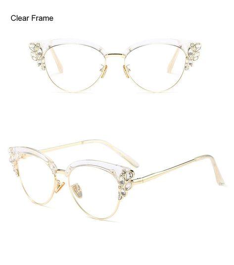 0cc080be13 Ralferty Brand Women S Rhinestone Royal Cat Eye Glasses Vintage Eyewea –  FuzWeb