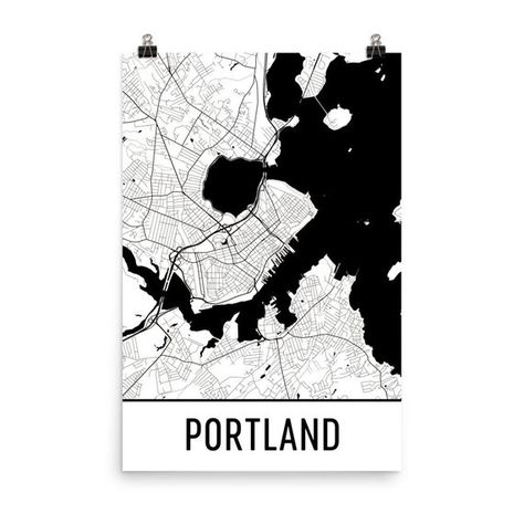 Portland Map Portland Maine Art Portland Print Portland ME Poster