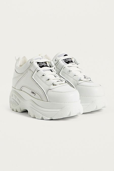 Buffalo White Leather Chunky Platform