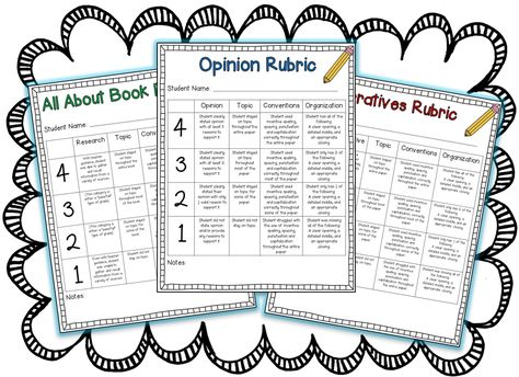 Rubrics for narratives, opinion, and informative writing! Directly aligned with common core for 1st grade.