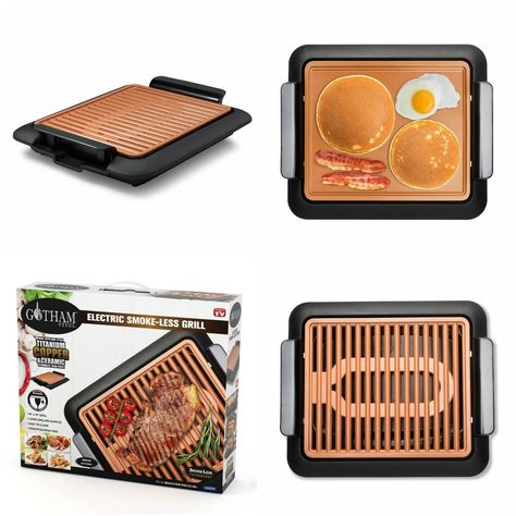 Gotham Steel Electric Indoor Grill Griddle Smokeless Scratch Resist Nonstick
