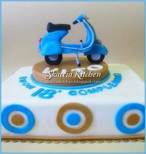 This original Italian Vespa motor bike cake has been designed by my