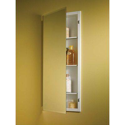 Orren Ellis Kinard Recessed Frameless Single Door Medicine Cabinet With 3 Adjustable Shelves W Recessed Medicine Cabinet Adjustable Shelving Recessed Cabinet