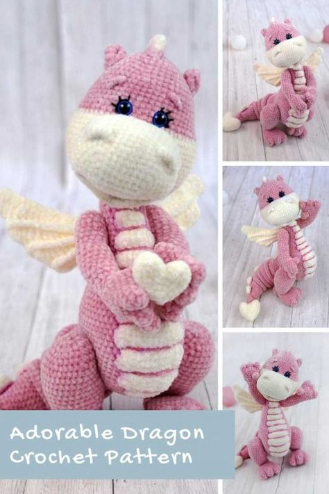 This crochet dragon pattern is so stinking CUTE! She'd be perfect for a Valentine's Day gift!
