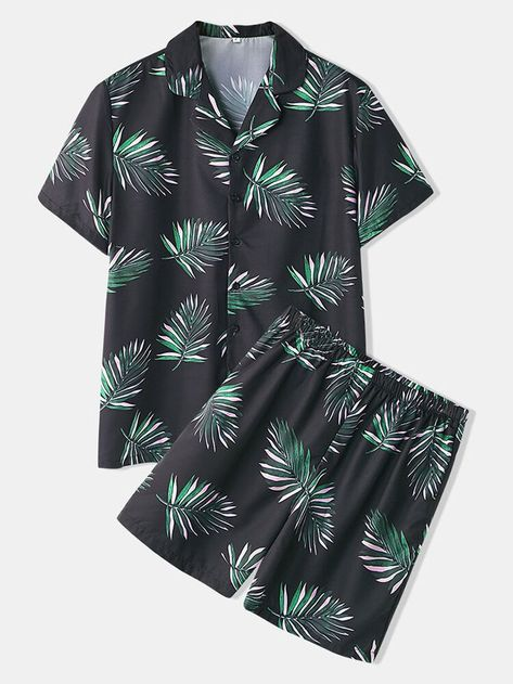 Occasion: Holiday, Casual Color: Black Size: S, M, L, XL, 2XL Pattern: Floral Collar: Lapel Collar Sleeves Length: Short Sleeve Thickness: Thin Season: Spring, Summer Material: Polyester Design Element: Button Length: Shorts Fit Type: Regular