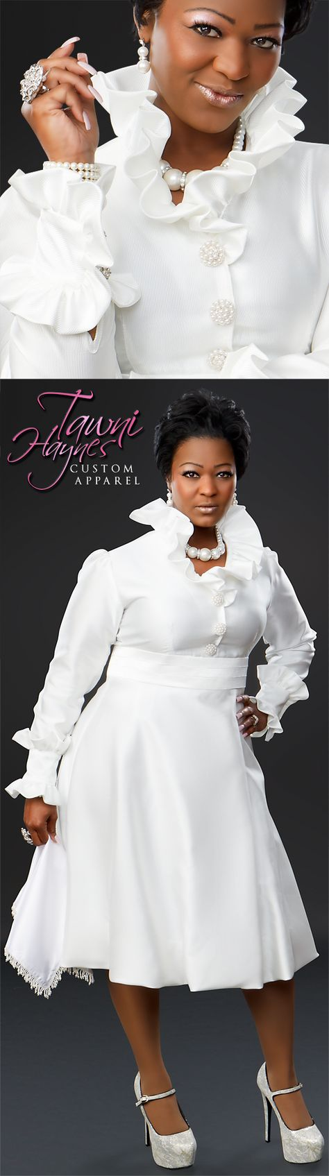 Custom-Made White Bubble Dress and matching Lap Scarf by Designer Tawni Haynes 972-754-5096.