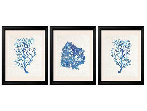 Blue Coral Prints, Antique Illustration Blue Sea Coral, Summer Art, Coral Wall Art, Coral Print, Sealife print , Blue Coral Prints