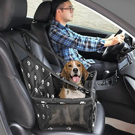 Portable Small Dog HIPPIH Collapsible Pet Booster Car Seat Cat Car Carrier with Safety Leash and Zipper Storage Pocket with 2 Support Bars