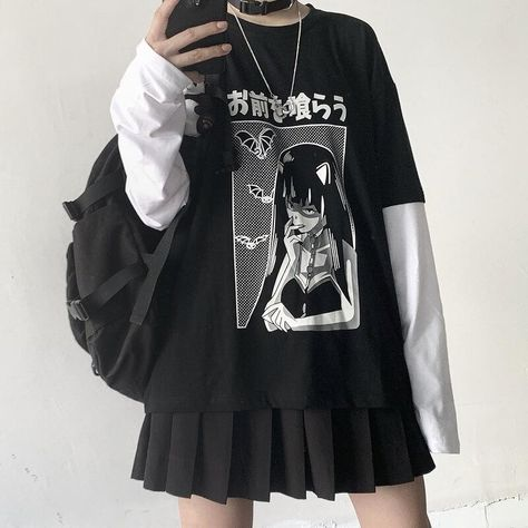 Egirl Fashion, Teen Fashion Outfits, Edgy Outfits, Cute Casual Outfits, Retro Outfits, Kawaii Fashion, Korean Fashion, Rock Outfits, Lolita Fashion