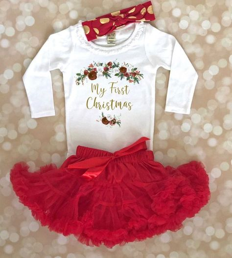 cb5ee036699e Baby Girl First Christmas Outfit - 1st Christmas Outfit - Baby Girl  Christmas Outfit - Newborn Chris