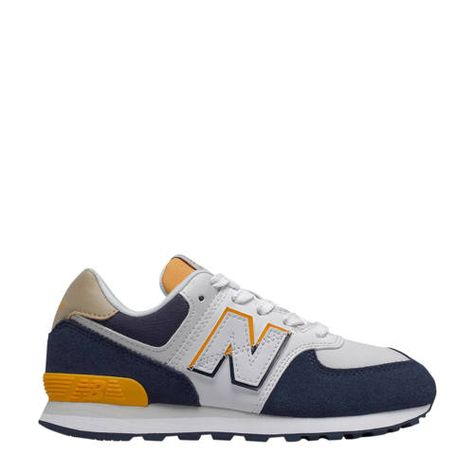 New Balance 574 sneakers donkerblauw/geel/ecru in 2020 ...