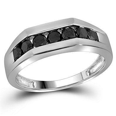 10kt White Gold Mens Round Black Colored Diamond Band Wedding Anniversary Ring 1 00 C Diamond Wedding Bands Wedding Ring Diamond Band Wedding Anniversary Rings