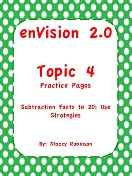 enVision Math 2 0 Topic 4 Grade 1 Practice Sheets   TpT Teaching