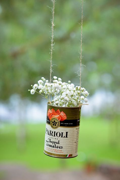 Rustic decorations - hanging tin, jute twine, baby's breath flowers