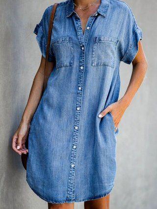 Justfashionnow Shirt Dress 1 Casual Dresses Shirt Collar Short ...