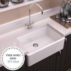 24 X18 Fireclay Apron Farmhouse Sink W Sink Grid In 2020 Farmhouse Apron Sink Farmhouse Sink Sink Grid