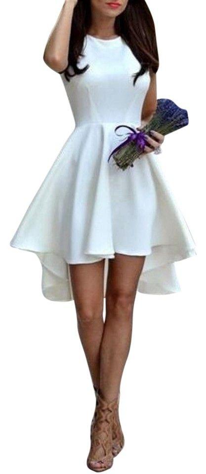 White and Black Sleeveless Asymmetric Hem Mid-length Night Out Dress Size 4 (S) Cute Dresses For Teens, Cute Short Dresses, Cute Prom Dresses, Dress For Short Women, Cute Cocktail Dresses, White Dresses For Women, Skater Dresses, Party Dresses For Women, Wedding Dresses