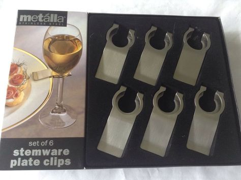 Party Ware Plate Clips Wine Glass Holder Metalla 6 Stainless Steel ...