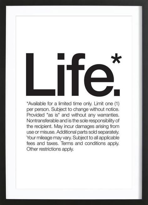 Life* (Black) by WORDS BRAND™ as Poster in Wooden Frame | Buy online at JUNIQE ✓ Reliable shipping ✓ Discover new designs at JUNIQE now!