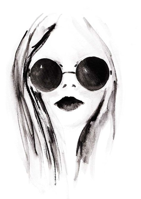 Gesichtillustration, Aquarell, modefigurinen, stress, Figurinen, mode, Zeichnungen, Illustrationen, Illustration, Fashion Illustrations, Mode Illustration, Sketch, Fashion Sketch