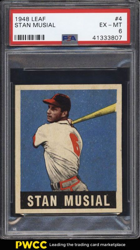 1948 Leaf Stan Musial Rookie Rc 4 Psa 6 Exmt Pwcc Most