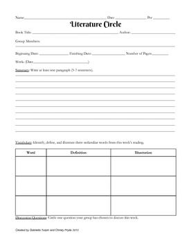 Literature Circles Worksheet Graphic Organizer A Girl With Some